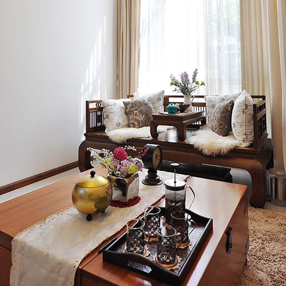 复古新中式客厅茶几效果图