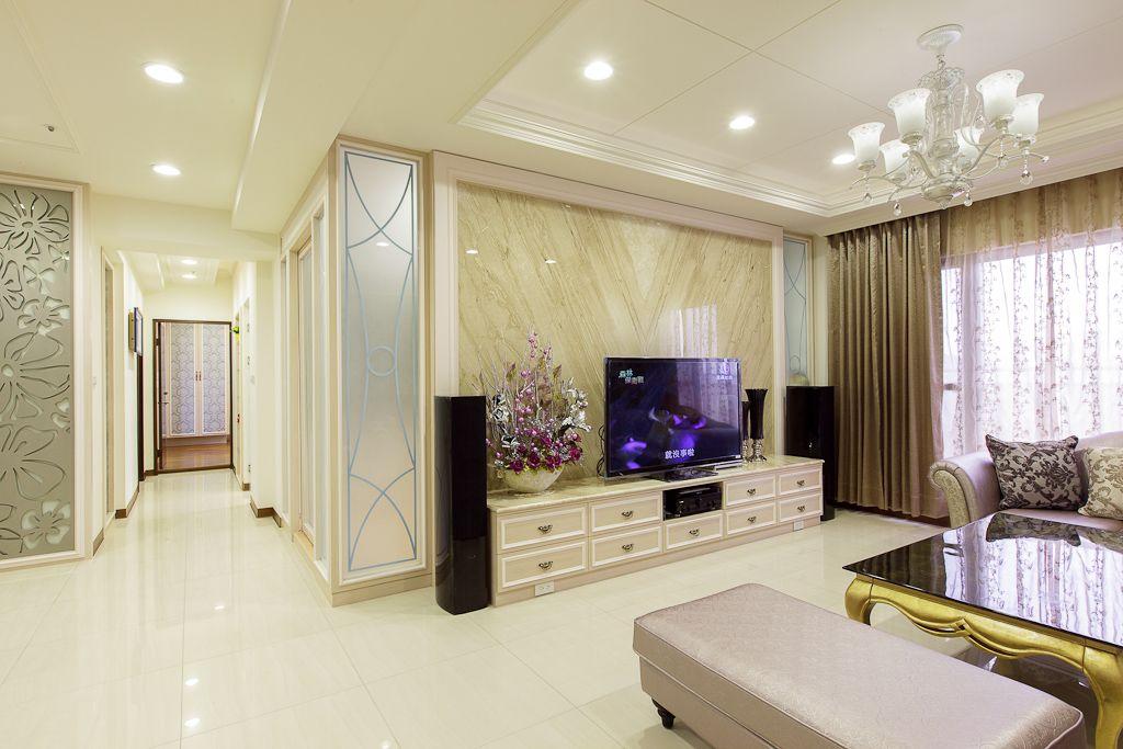 新古典客厅 大理石电视背景墙设计