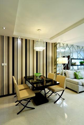 时尚现代风 餐厅竖条纹背景墙设计