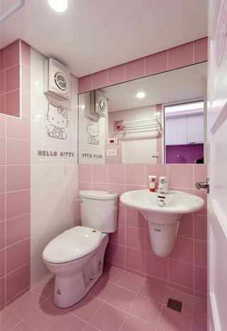 粉色kitty主题 宜家粉色卫生间设计