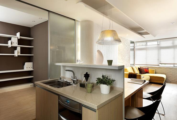 现代极简厨房隔断效果图