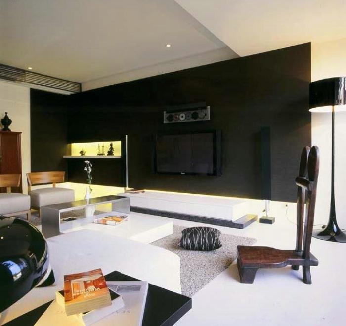 摩登简约风客厅 黑色电视背景墙设计