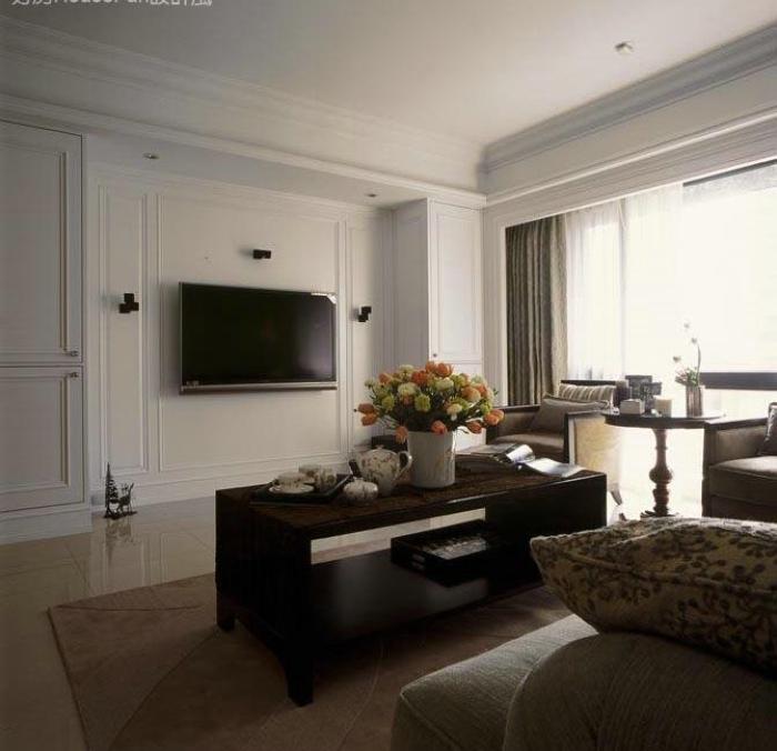 白色简约美式 客厅电视背景墙效果图