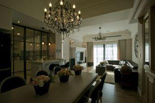 复古简欧风格餐厅金属水晶组合吊灯装饰图