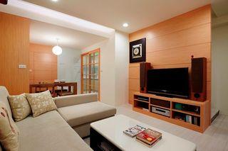 现代时尚设计简约客厅实木背景墙装饰效果图