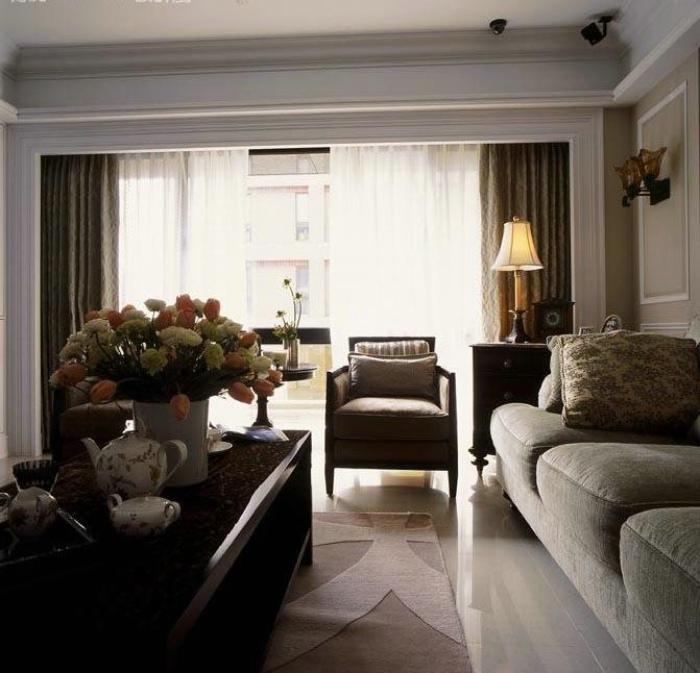 时尚简约美式客厅窗帘效果图