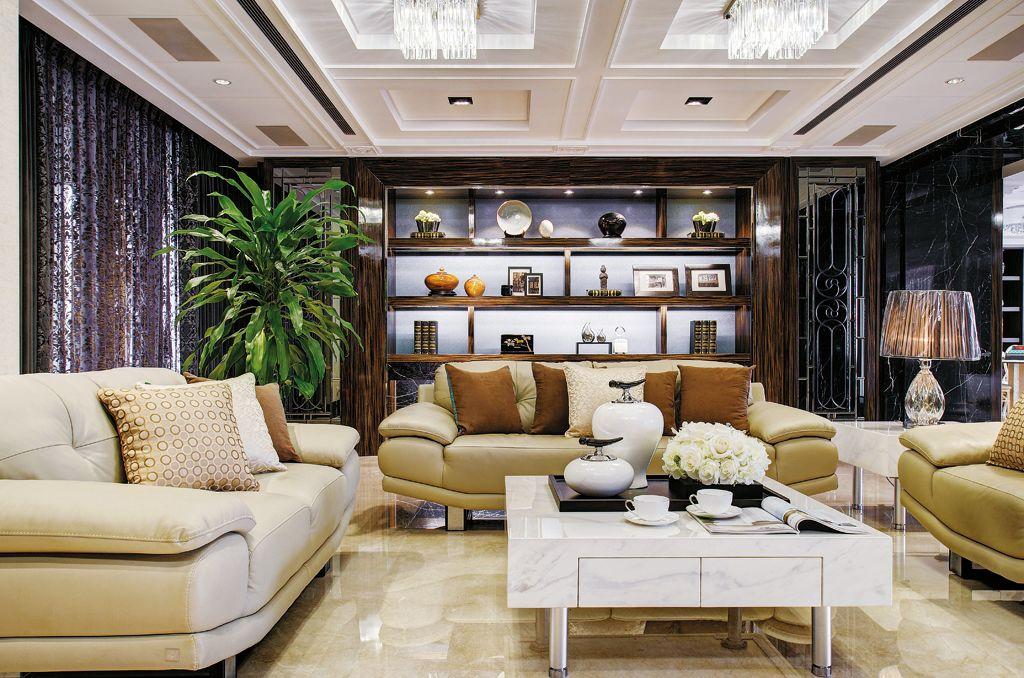 欧式豪华别墅客厅博古架设计