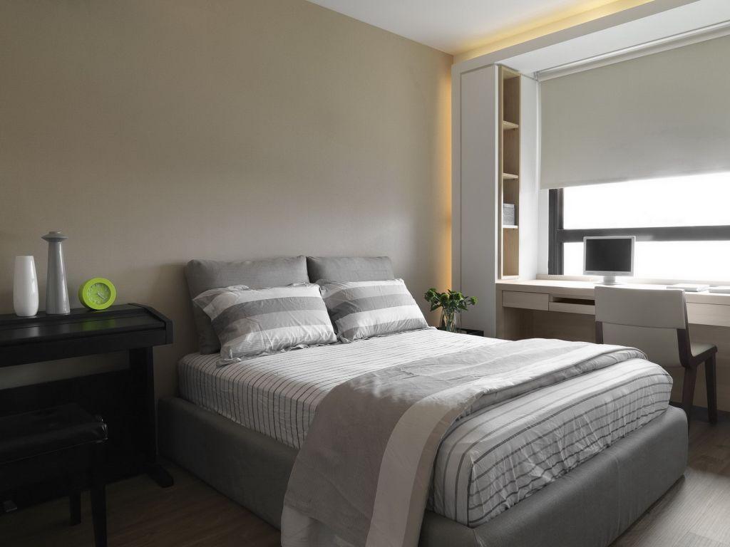 灰白现代卧室装潢效果图