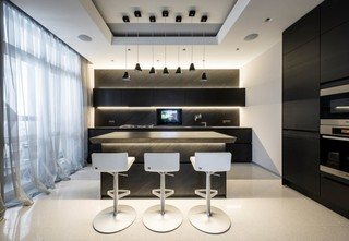 时尚摩登现代风 黑色厨房吧台装修
