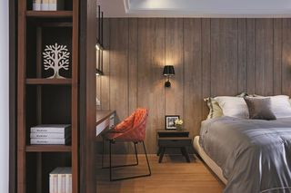 后现代卧室原木背景墙设计