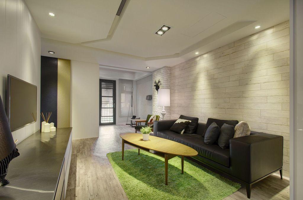 舒适简约公寓客厅吊顶效果图