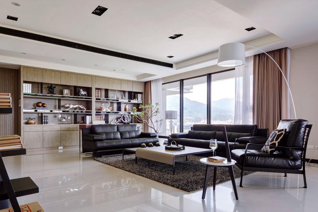 现代公寓客厅黑色家具装饰图