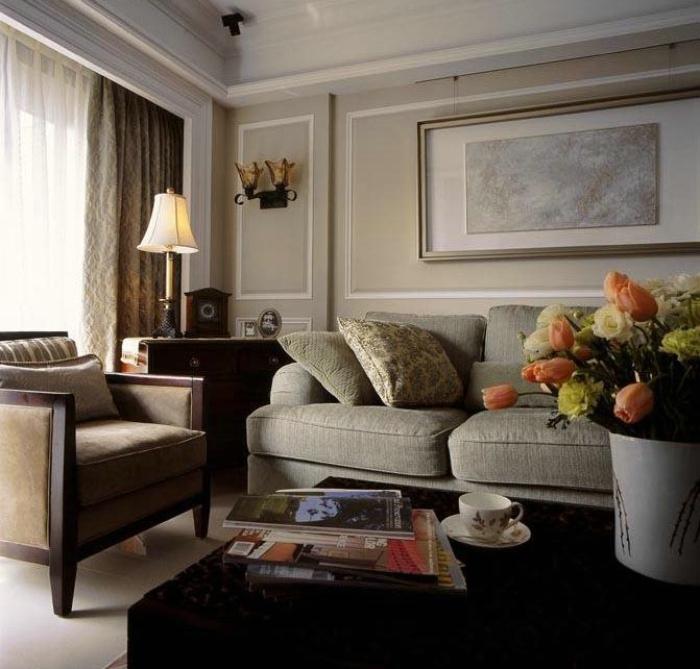 美式客厅布艺沙发效果图