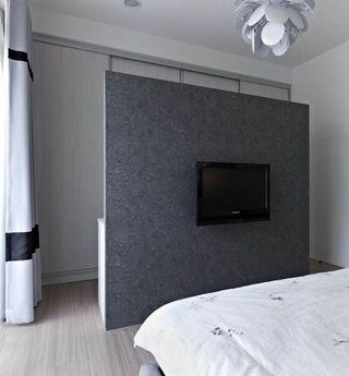 灰色系简约风 卧室电视背景墙设计