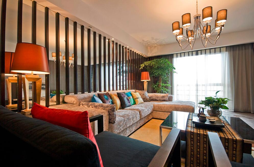 家装中式创意混搭客厅沙发玻璃背景墙装饰图