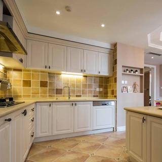 清新美式装修风格厨房橱柜装饰图