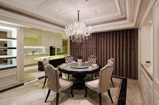 唯美新古典设计餐厅水晶吊灯装饰效果图