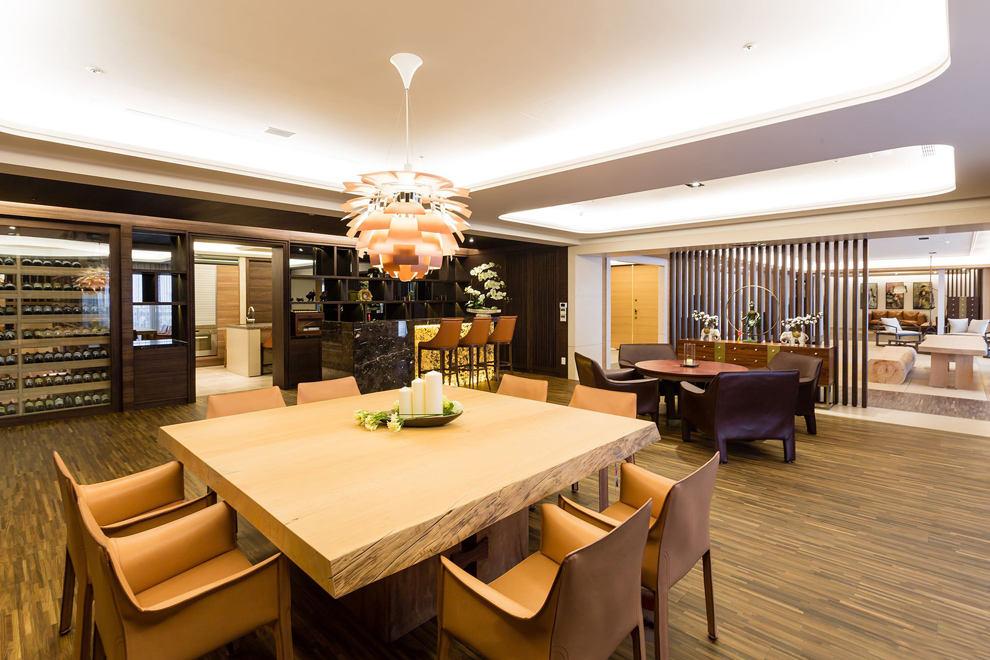 高端大气新中式 餐厅休闲区一体设计