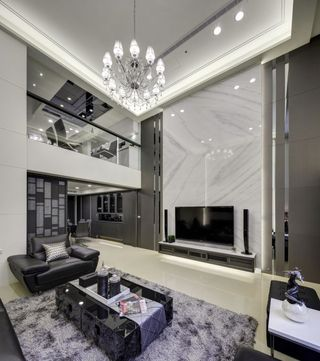 88平精致现代复式挑高客厅装修设计图