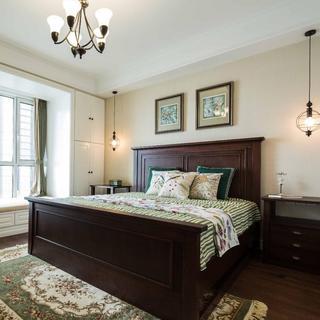 文艺清新美式卧室实木高背床装饰效果图