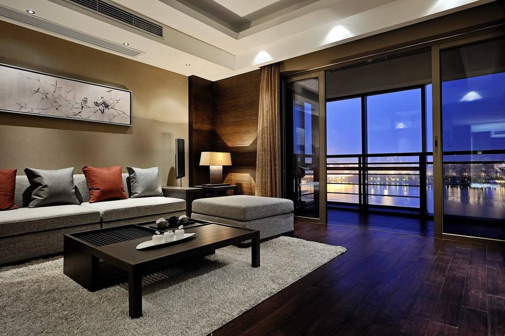 暗色系现代客厅阳台隔断设计