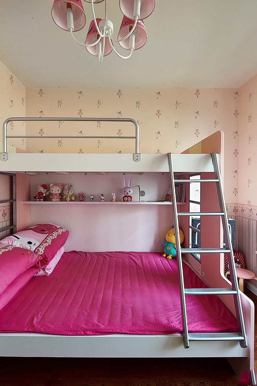 甜美简欧风 儿童房双人床效果图