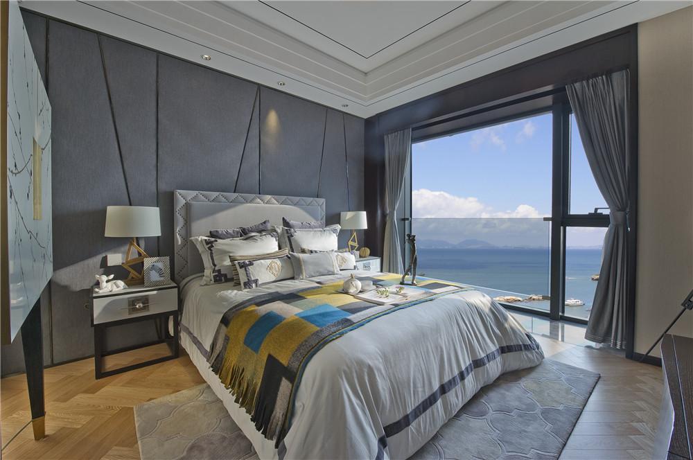 黑色摩登简欧风 卧室背景墙设计