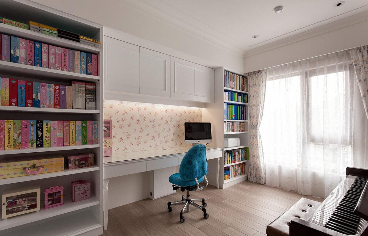 清新北欧儿童书房整体书柜设计