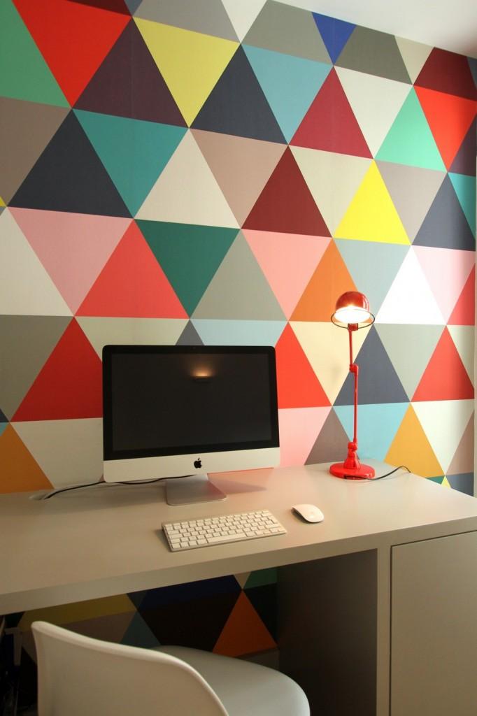 时尚现代书房彩色墙壁装饰效果图