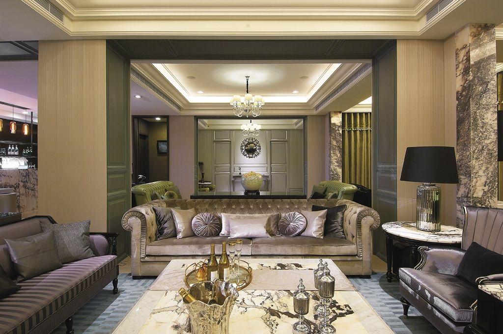 豪华复古欧式客厅隔断设计