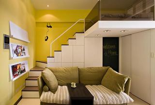 柠檬黄现代小户型跃层装潢图
