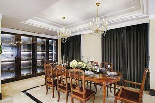 时尚美式餐厅 黑色窗帘效果图