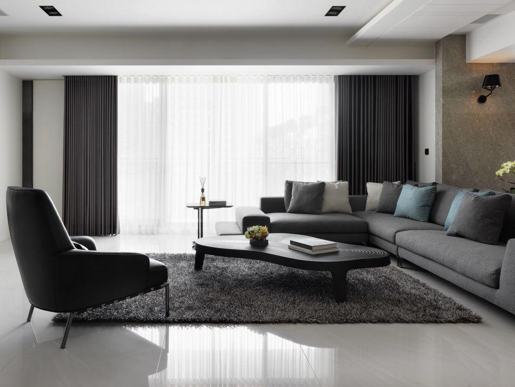 时尚宜家客厅 灰色系窗帘效果图