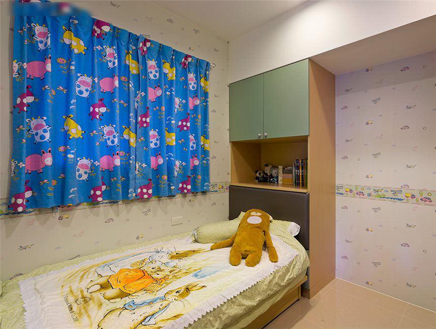 清新现代儿童房窗帘效果图