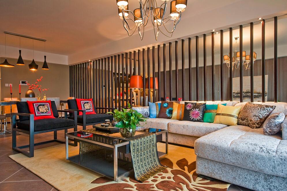 异域风情混搭 客厅沙发效果图