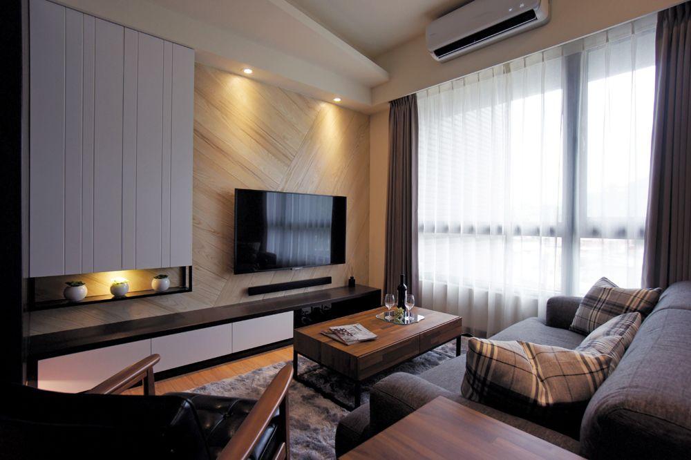 小户型客厅后现代风格电视背景墙设计装修图