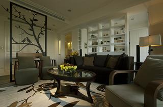 休闲复古美式客厅隔断设计