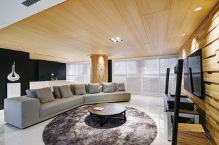 休闲简约风客厅原木吊顶设计