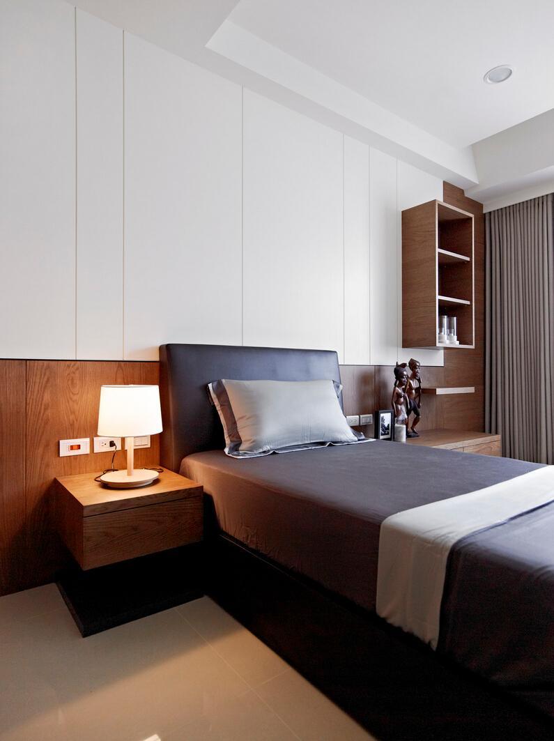 现代简约设计卧室单人床布置