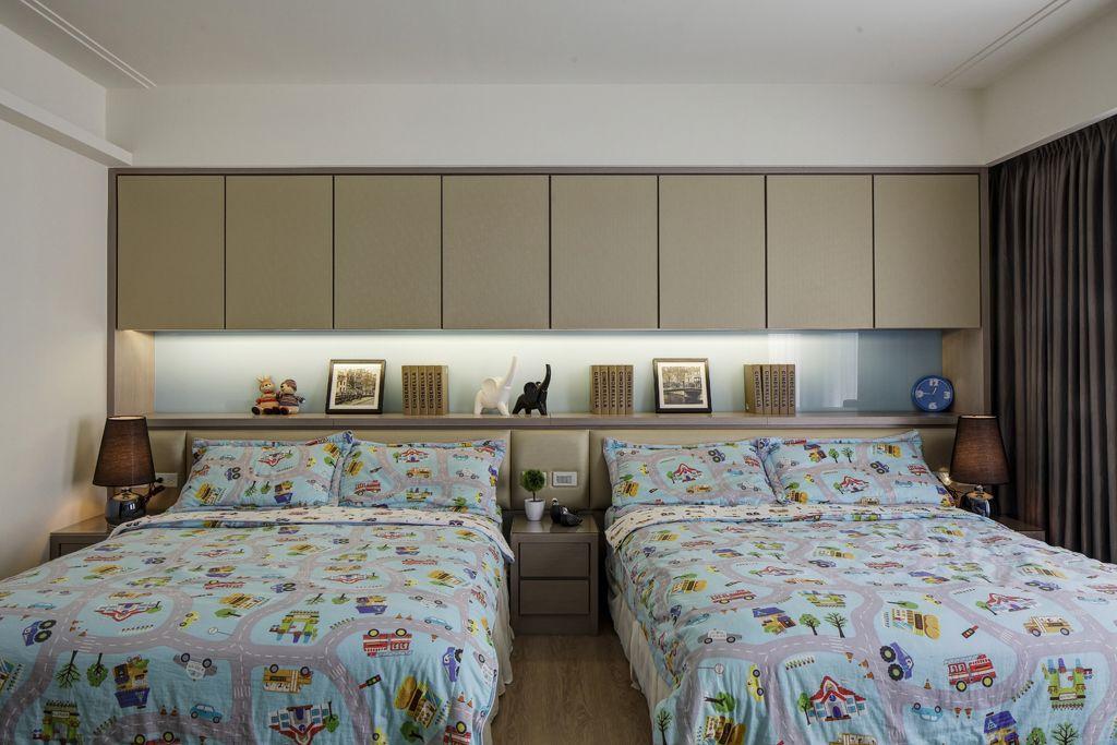 家装现代双人床儿童房床头收纳柜设计