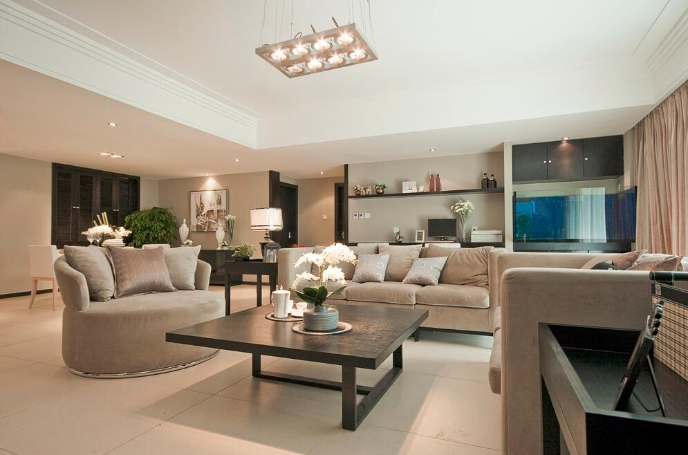 白米黑三色装饰时尚简约三居室内装修效果图