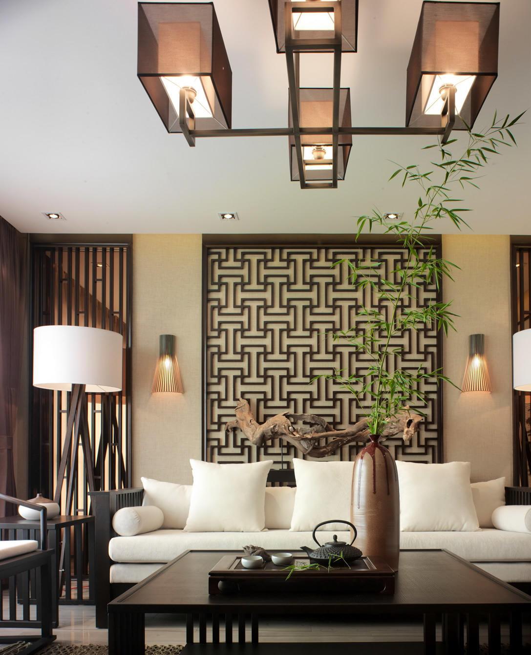典雅休闲中式风格家居室内灯饰装饰图