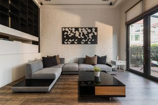现代朴素风客厅装饰效果图