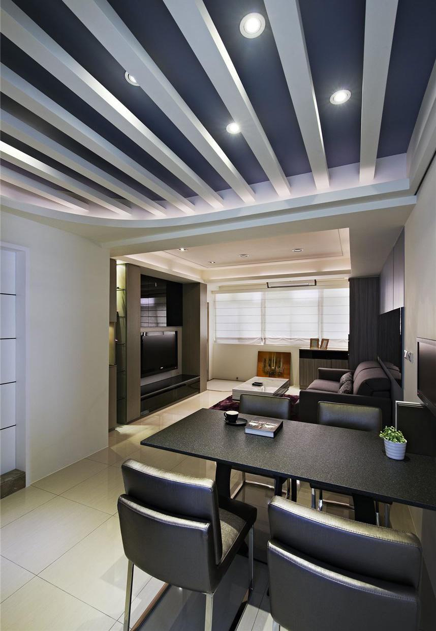 时尚现代装修设计餐客厅隔断吊顶效果图