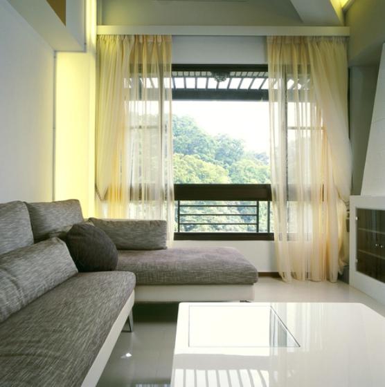 简约风格客厅黄色窗帘效果图片