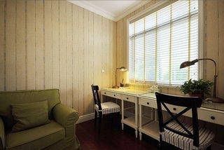 美式书房竖条背景墙设计