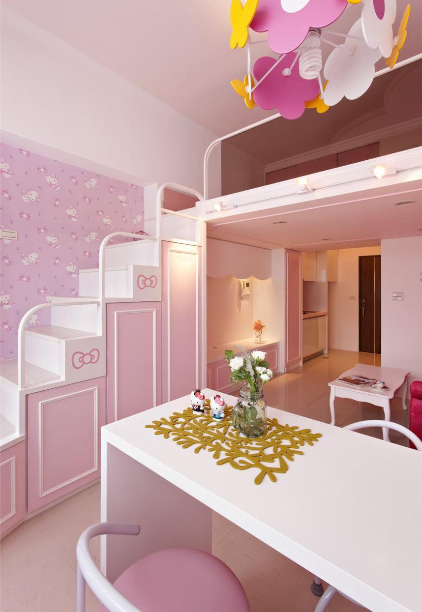 甜美粉宜家风跃层公寓设计