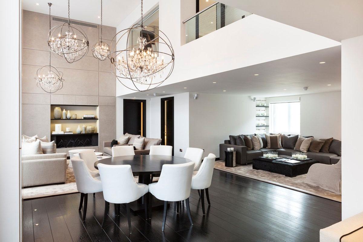 低奢精致现代风复式客餐厅装潢设计