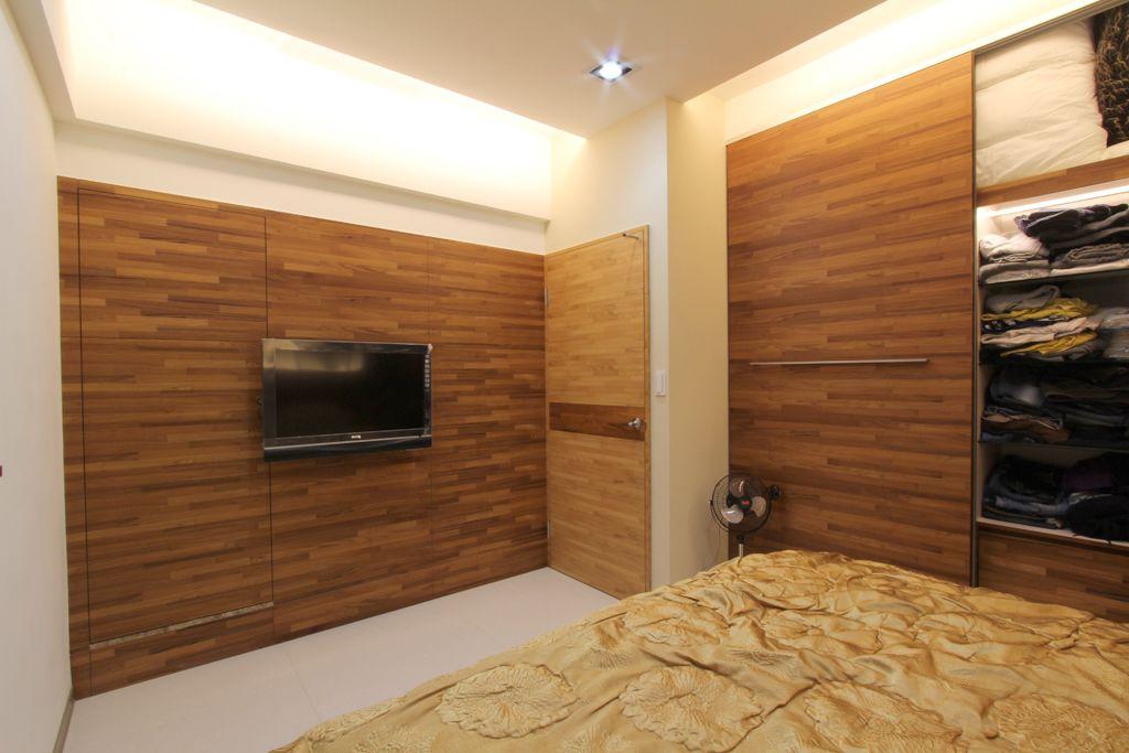 现代日式风卧室原木家装图