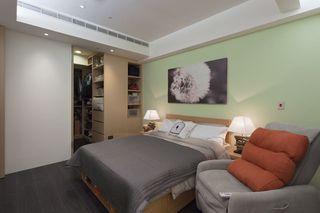 清新简约风卧室 绿色背景墙设计